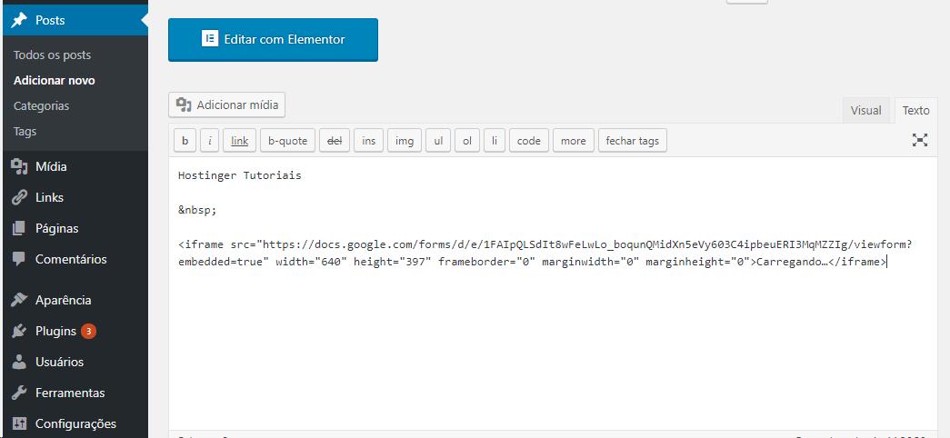 Inserir código HTML com editor antigo do WordPress
