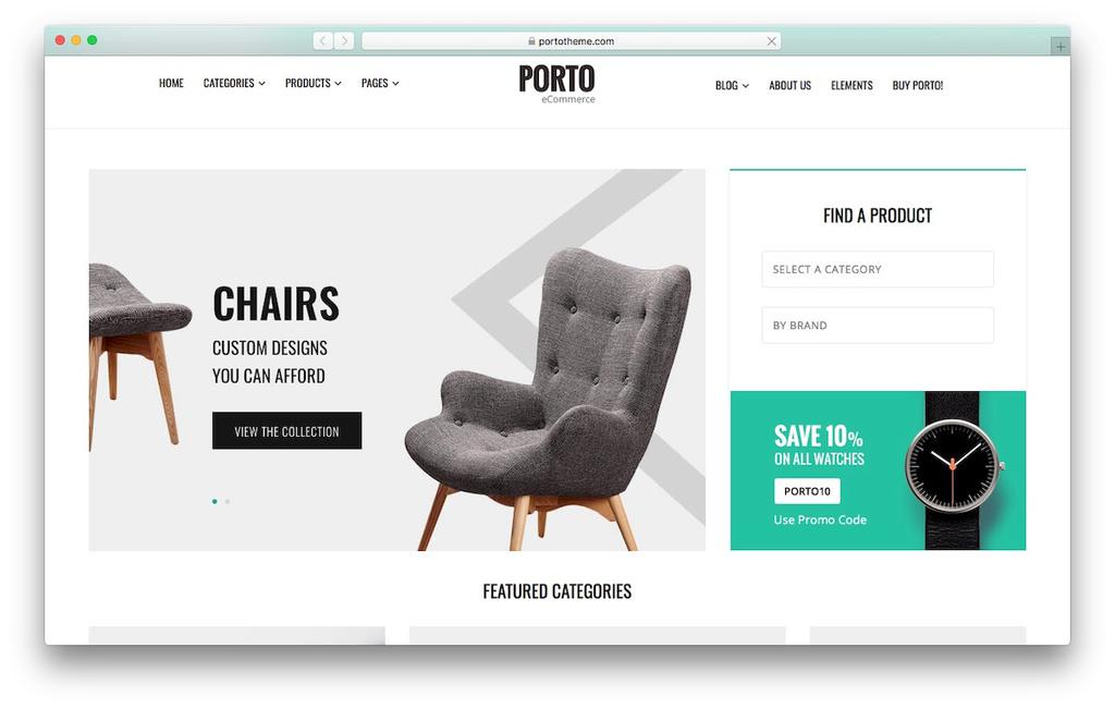 tema Porto loja virtual WordPress