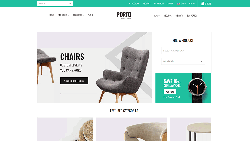 tema Porto loja virtual WordPress