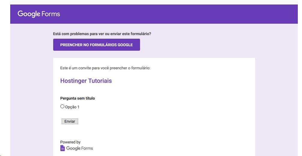 Visualizar formulário na caixa de entrada