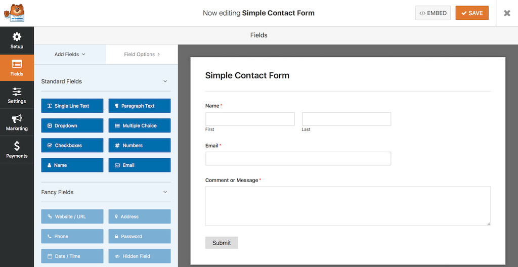 exemplo de uso do wp forms plugin