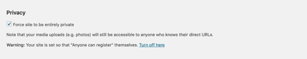 desabilitar registro público no plugin all-in-one intranet