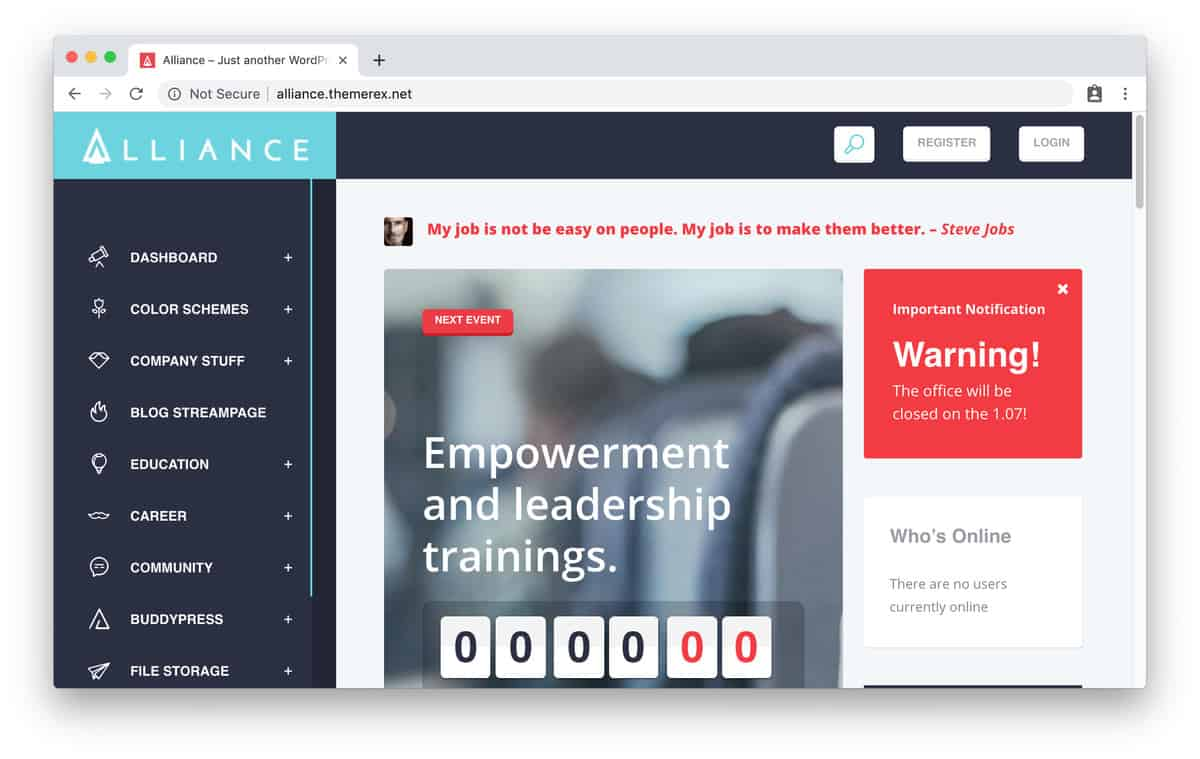 tema wordpress intranet alliance