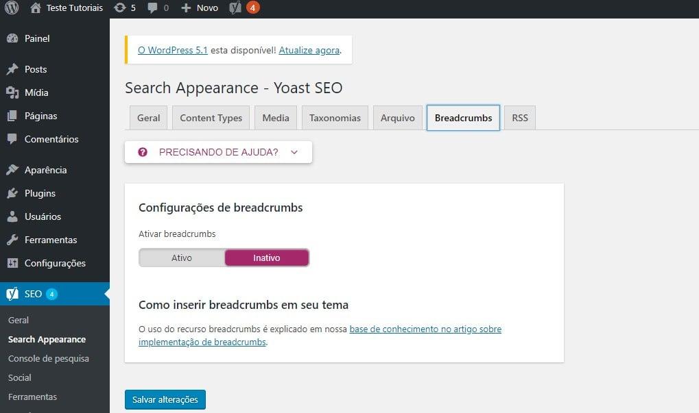 breadcrumbs no yoast seo