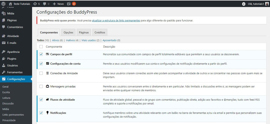 configurações buddy press