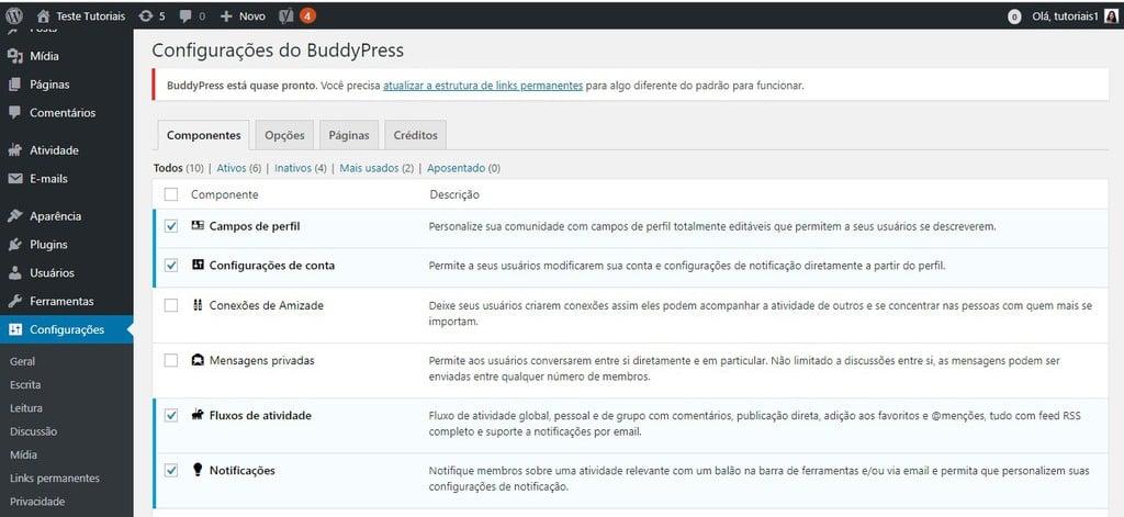 configurações buddy press