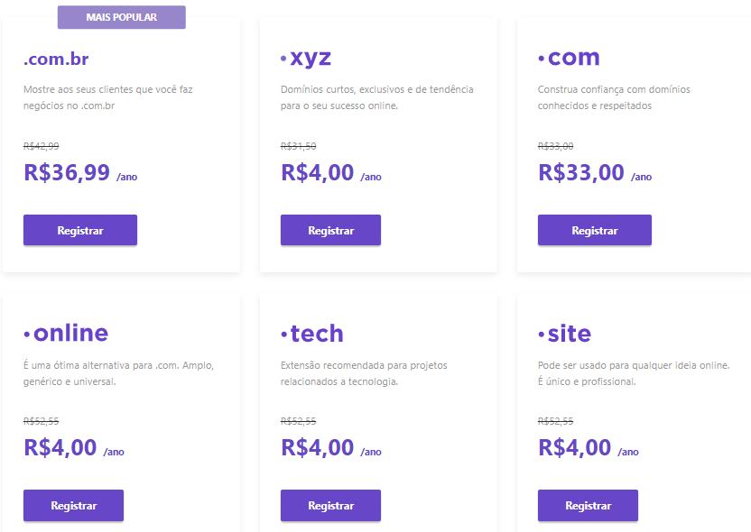preços de domínios na hostinger
