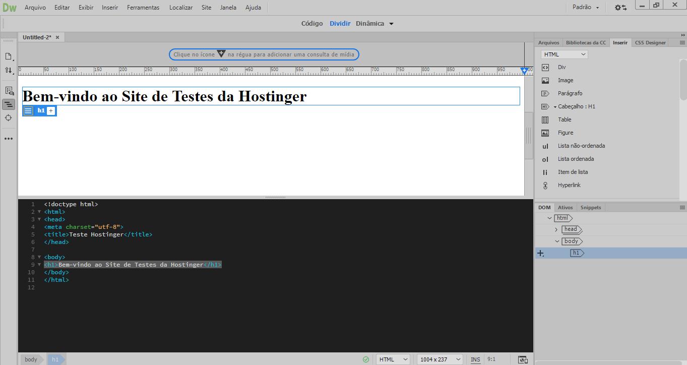 exemplo site da hostinger
