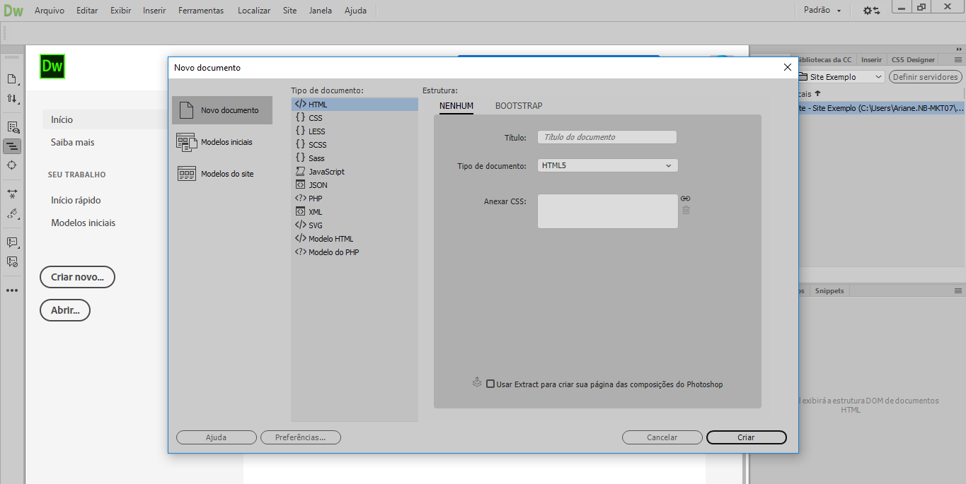 interface adobe dreamweaver