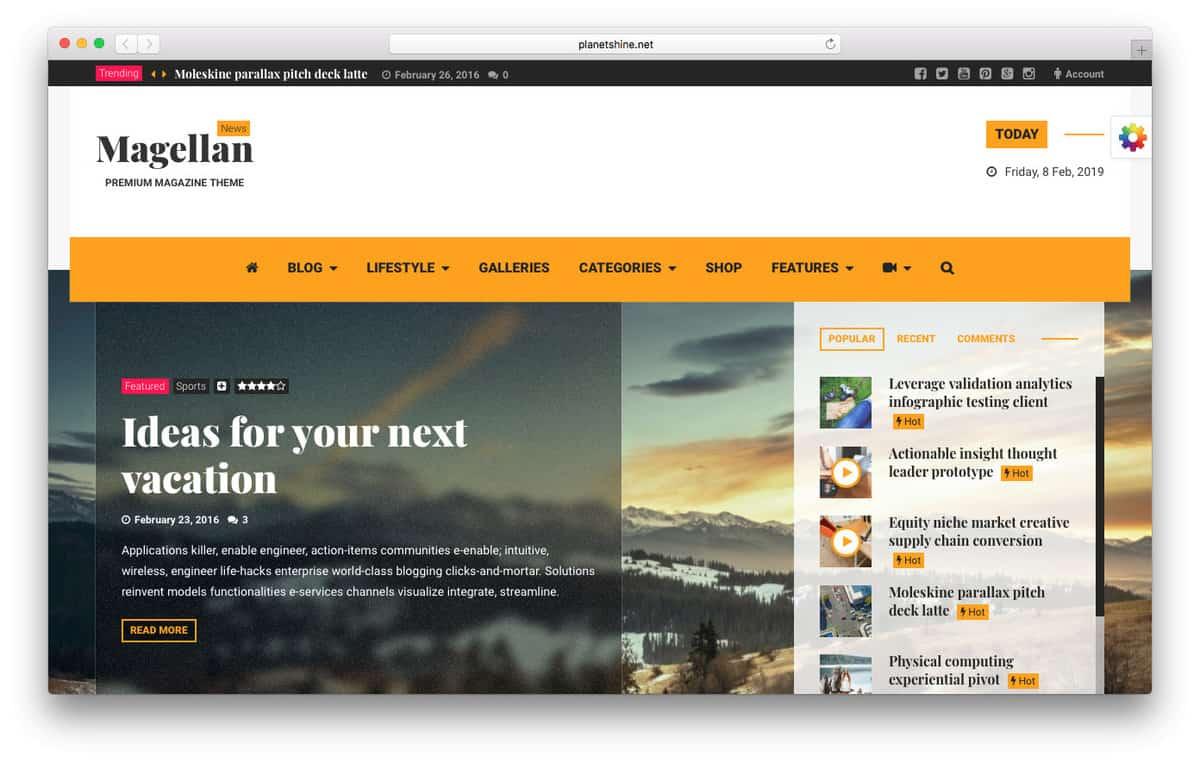 magellan temas wordpress para vídeo