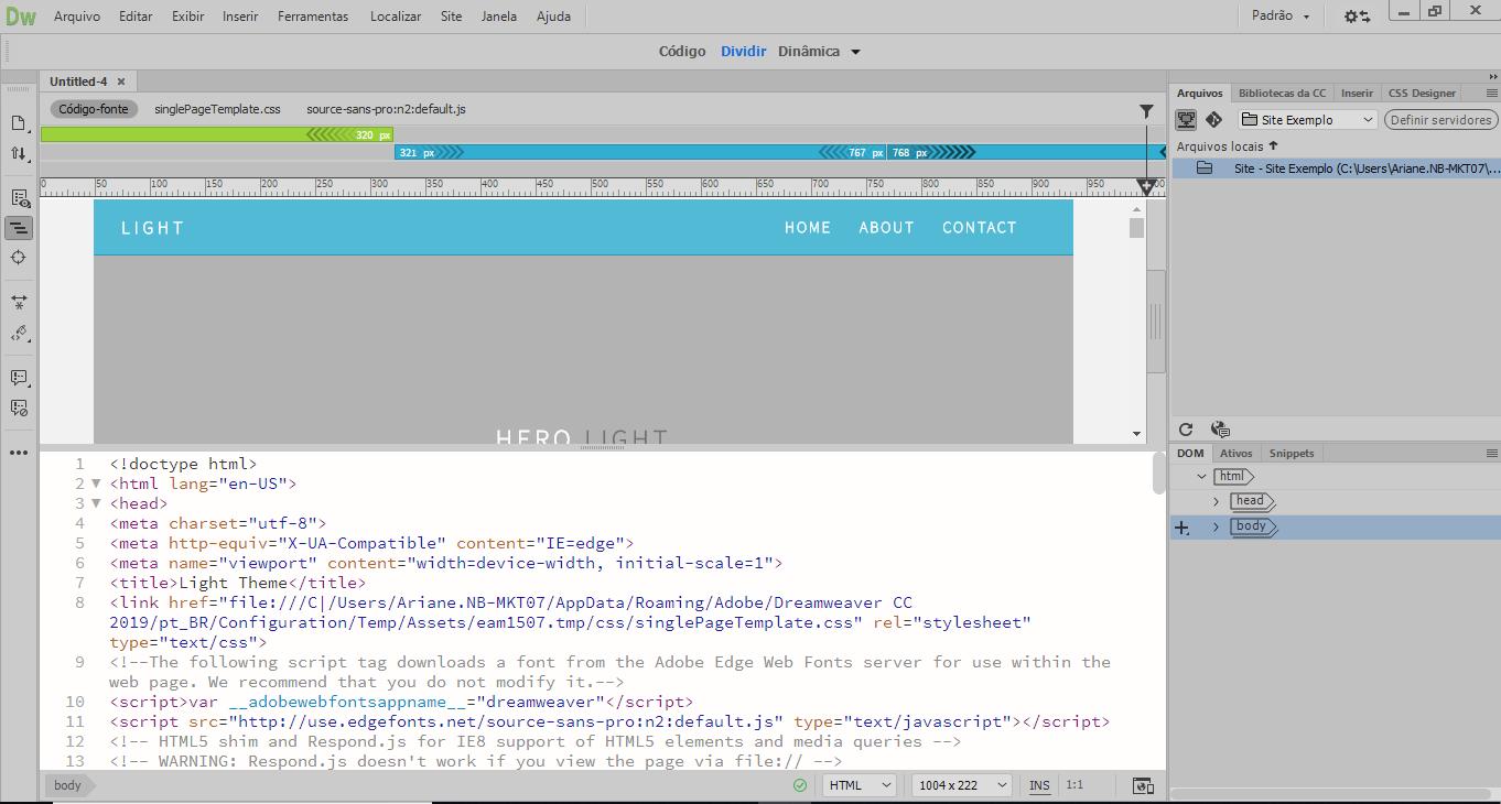modelo de página única do dreamweaver