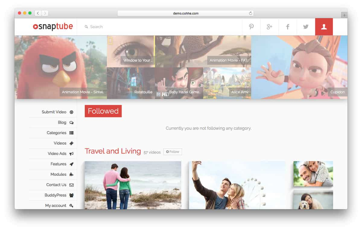 tema wordpress para vídeo snaptube