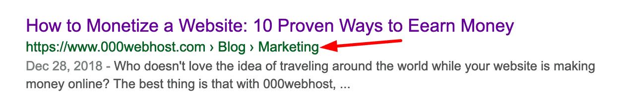 exemplo de breadcrumbs wordpress no google