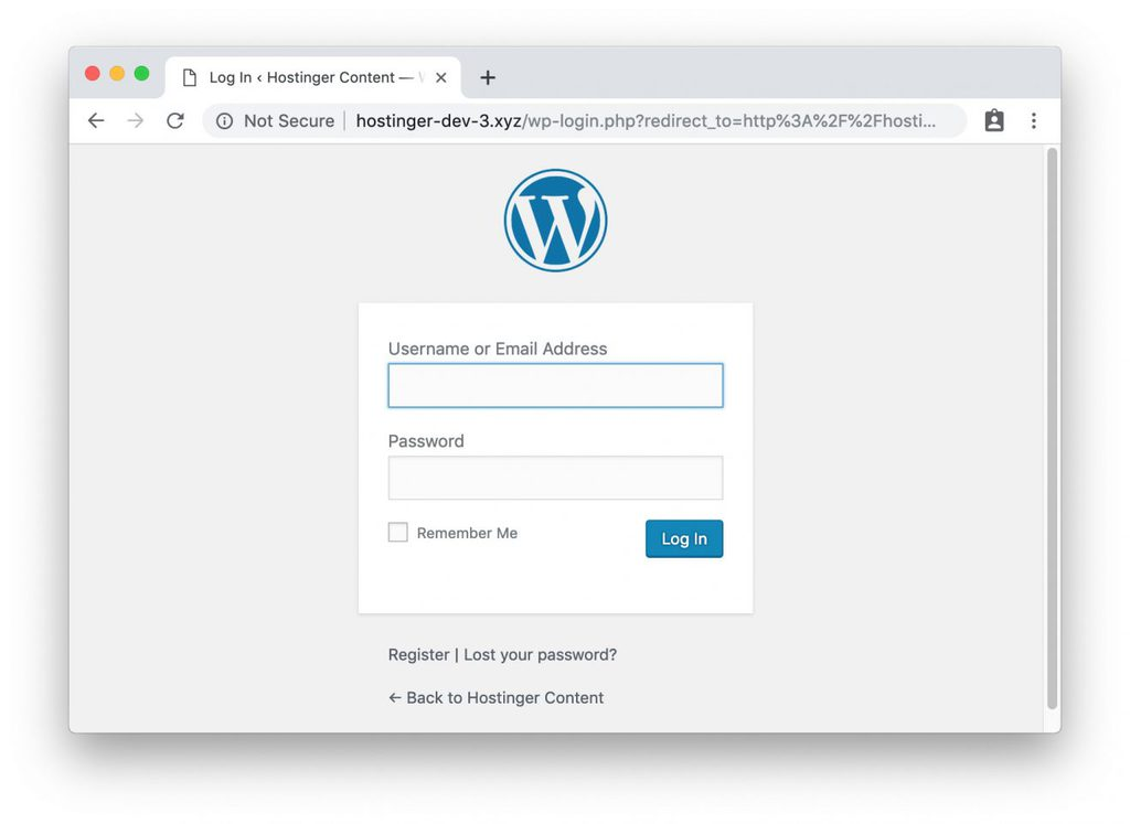 pagina de login do wordpress