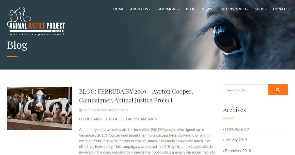 exemplo de blog de animais