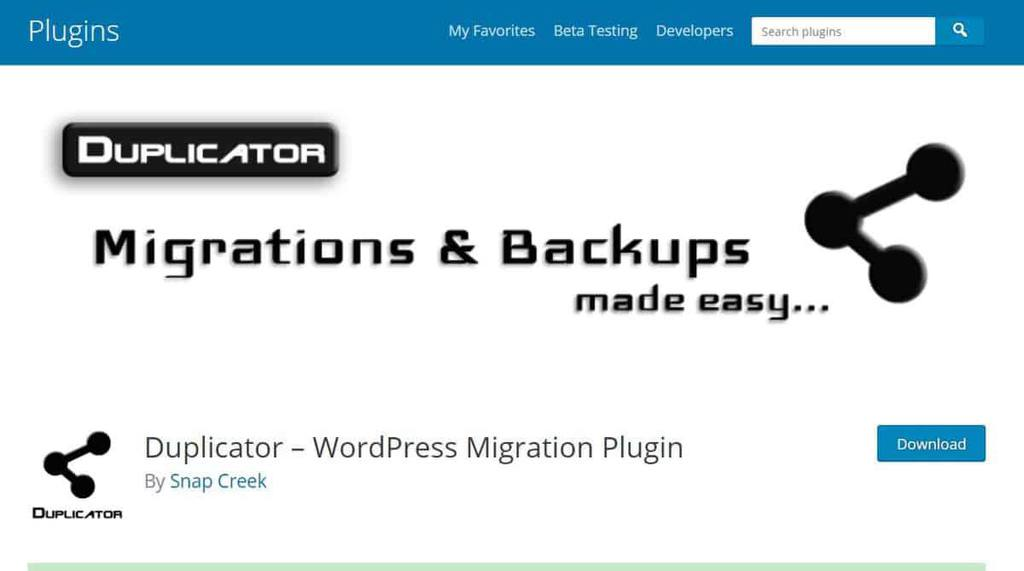 Tela de download do plugin de migração Duplicator