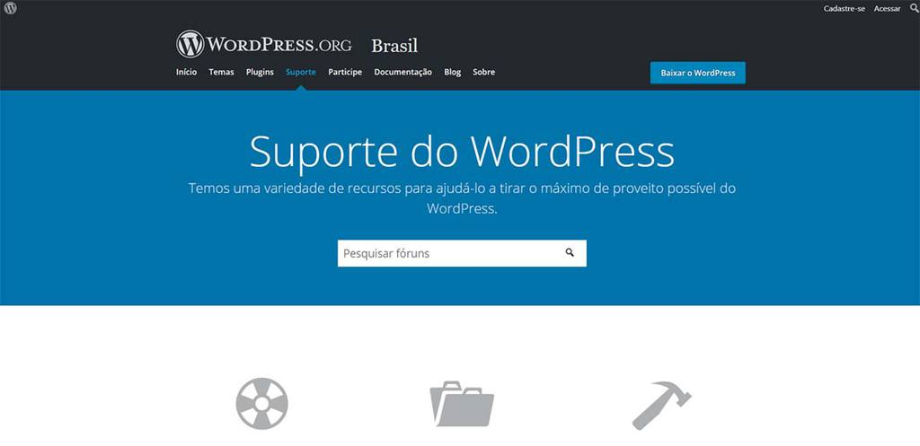 Página Inicial do site oficial WordPress Suporte