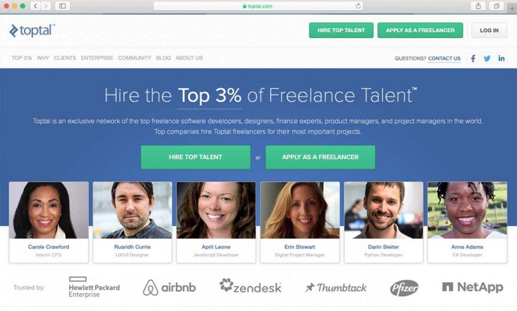 Tela inicial do site Toptal de contratação de freelancers