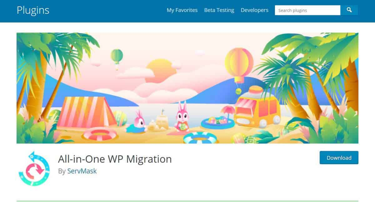 Plugin de migração para WordPress All in One WP Migration