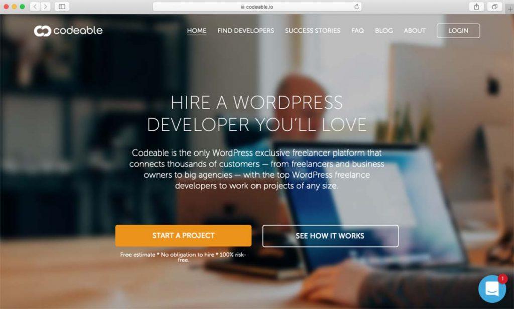 Site Codeable para contratação de desenvolvedores autônomos