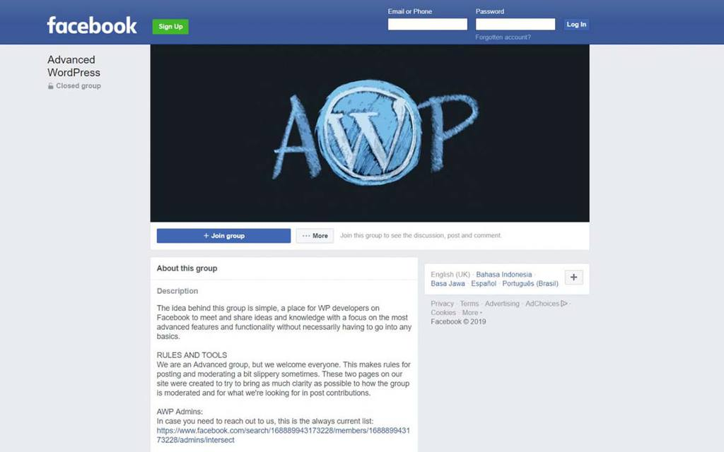 Página do grupo do Facebook Advanced WordPress (AWP)