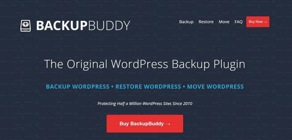 Site do plugin de migração WordPress Backup Buddy