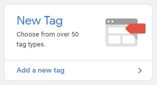 Menu para adicionar nova tag para o Google Tag Manager