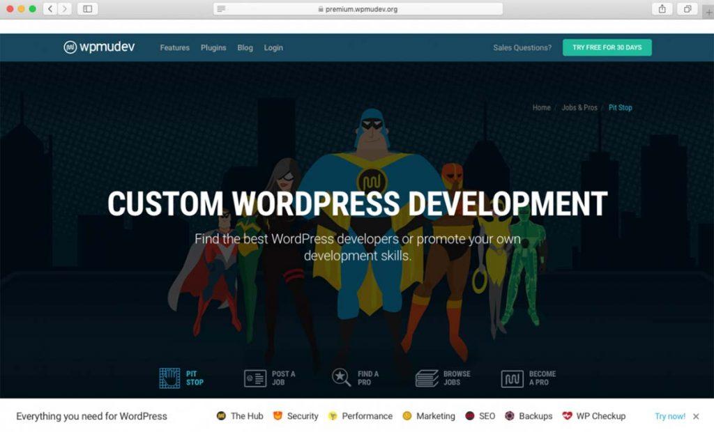 Página WPMU de contratação de autônomos e desenvolvimento de plugins