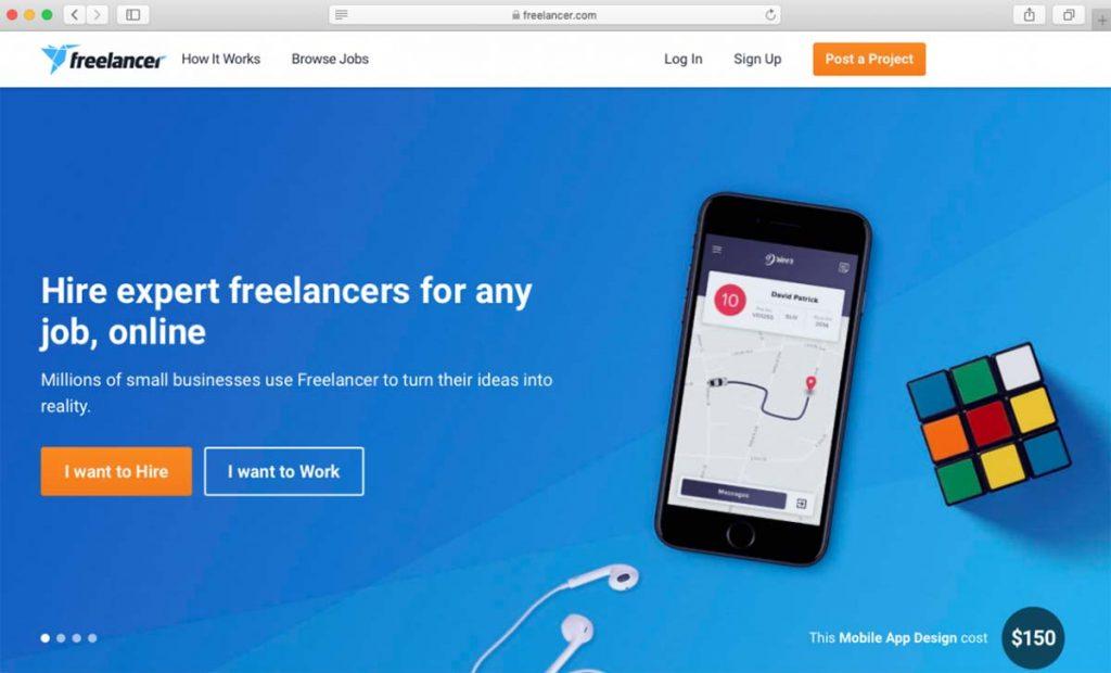 Plataforma de contratação de freelancers chamada Freelancer