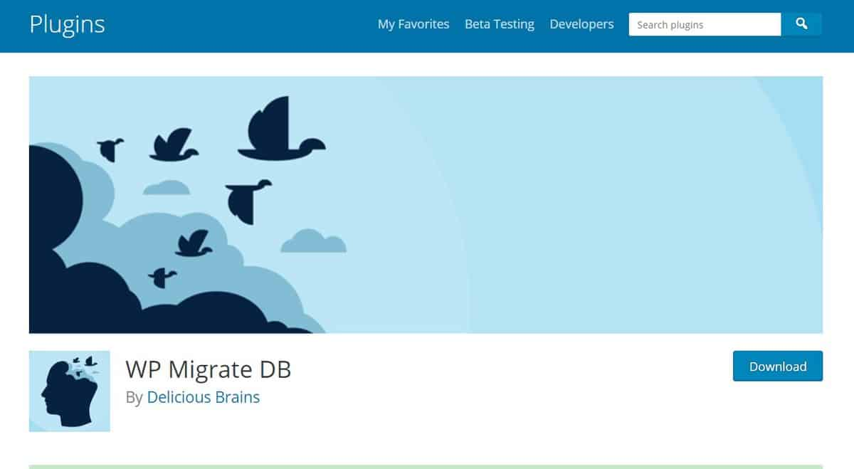 Página de apresentação do plugin WP Migrate DB para wordpress