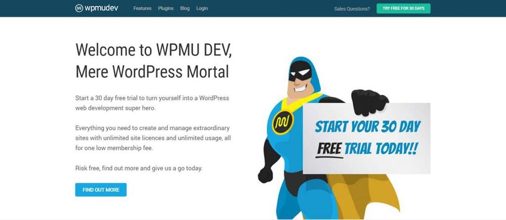 Página inicial do site de auxílio WordPress WPMU Dev