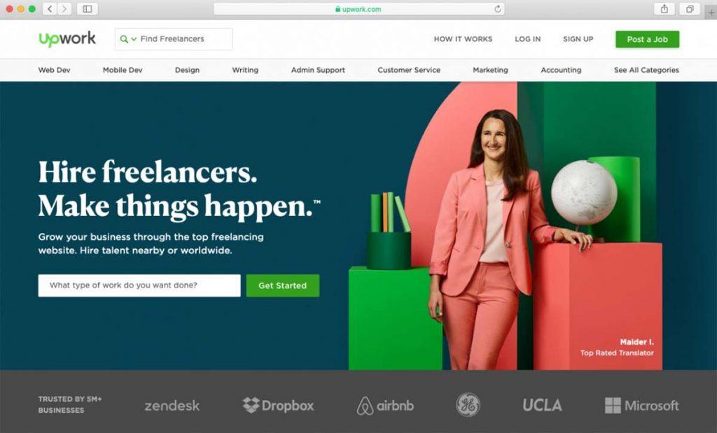 Imagem do site Upwork de contratação de autônomos