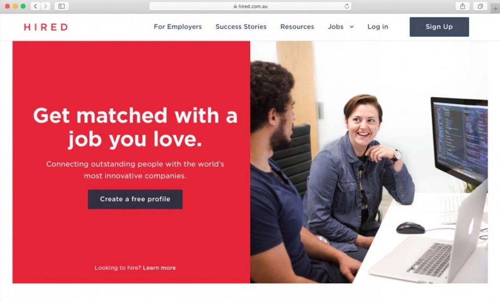 Página inicial da Hired de contratação de freelancers WordPress