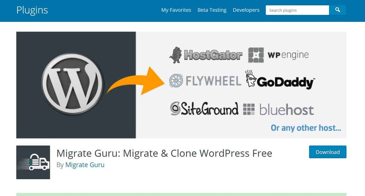 Página para download do plugin Migrate Guru