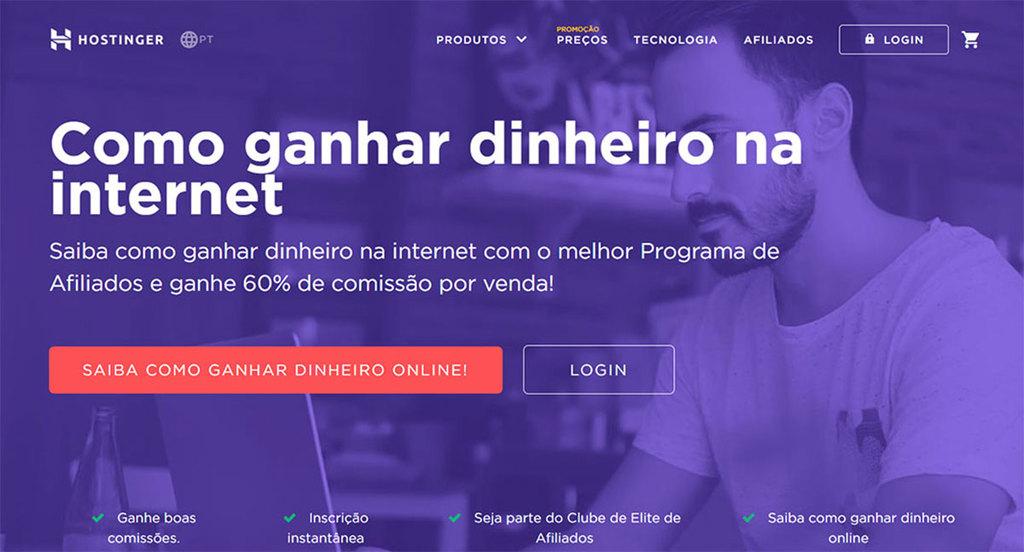 Página inicial do site do Programa de Afiliados da Hostinger
