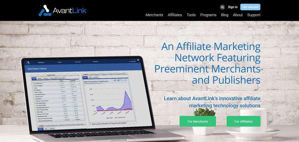 Página inicial do programa de Afiliados AvantLink