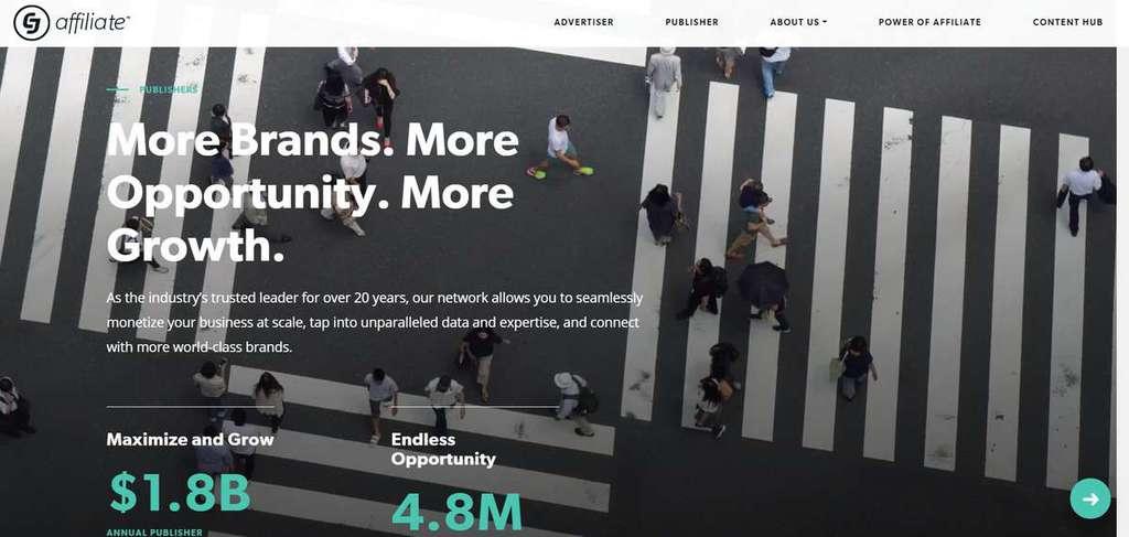 Página inicial do site de Afiliados CJ Affiliate