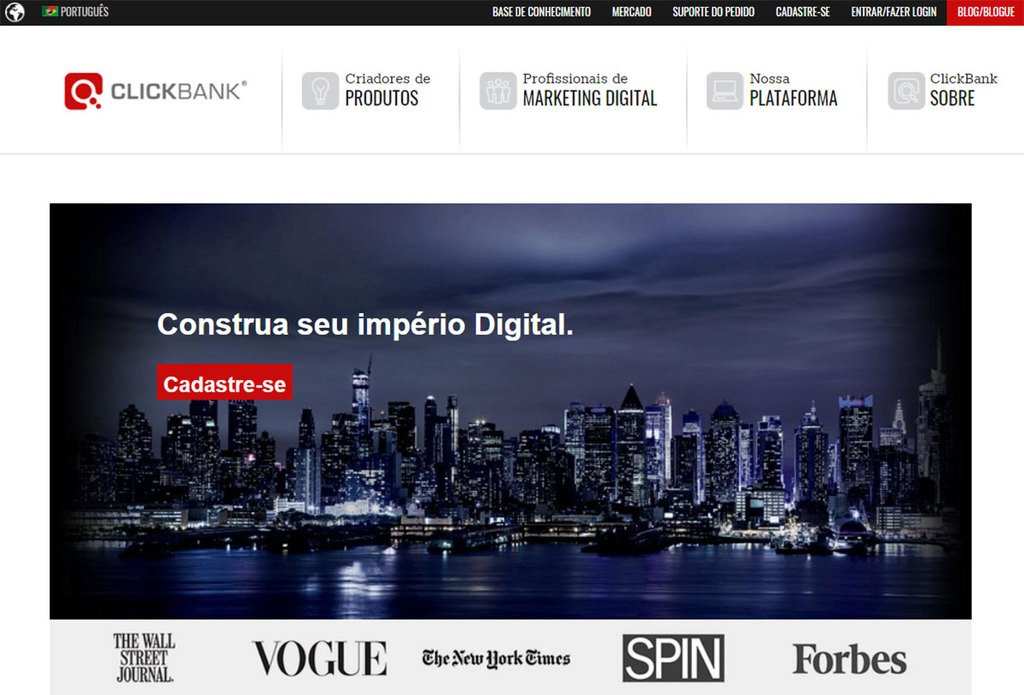 Página inicial do site de Afiliados da Clickbank