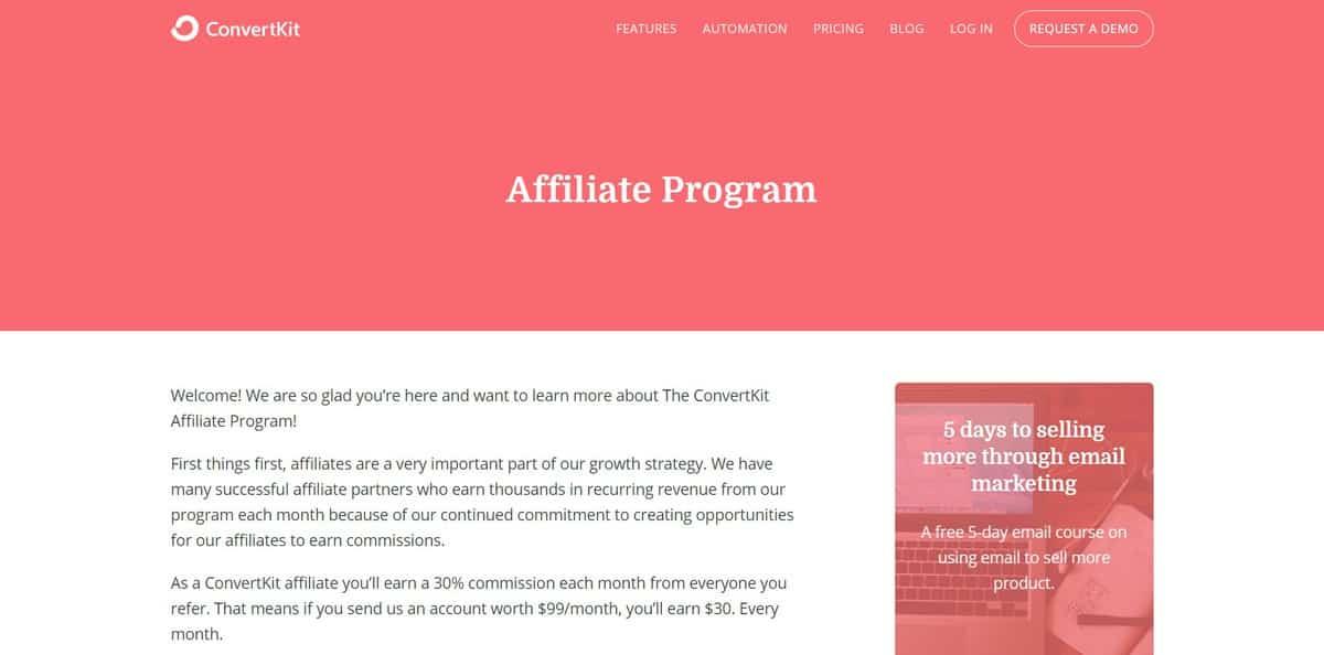 Página inicial do site do programa de Afiliados ConvertKit Affiliate Program