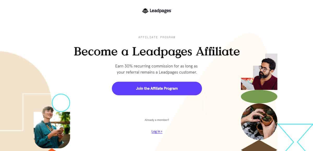 Página inicial do programa de Afiliados da Leadpages
