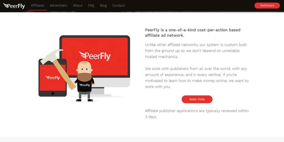 Página inicial do site de Afiliados da PeerFly