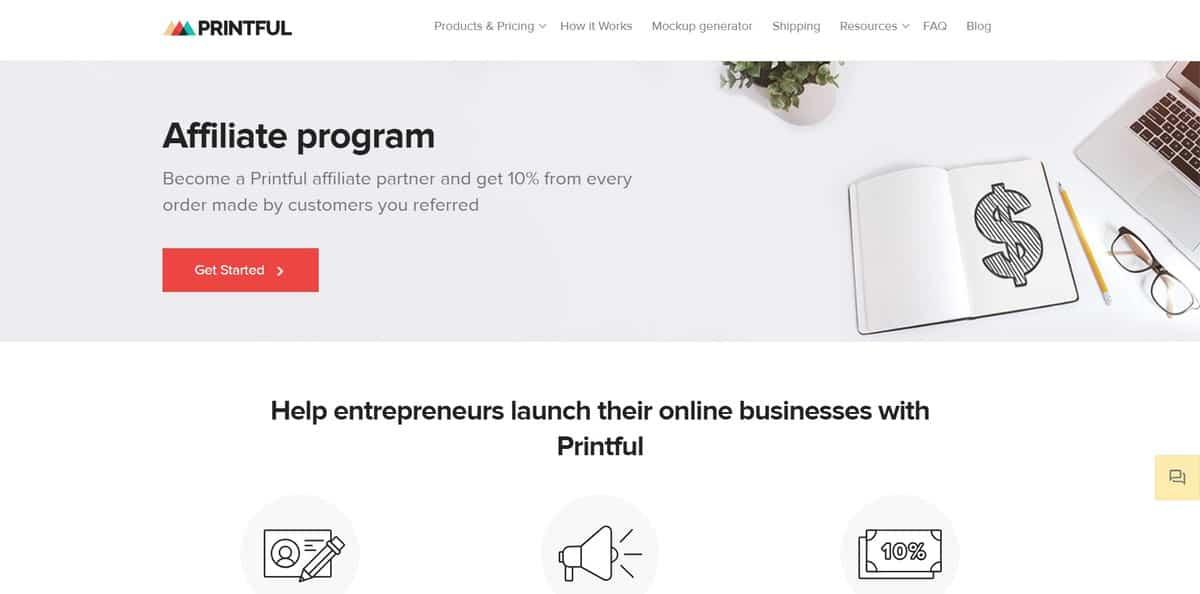 Página inicial do site do programa de Afiliados Printful Affiliate Program