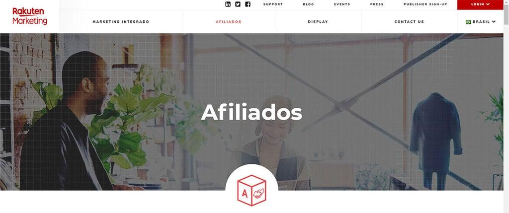 Página inicial do programa de Afiliados Rakuten Marketing