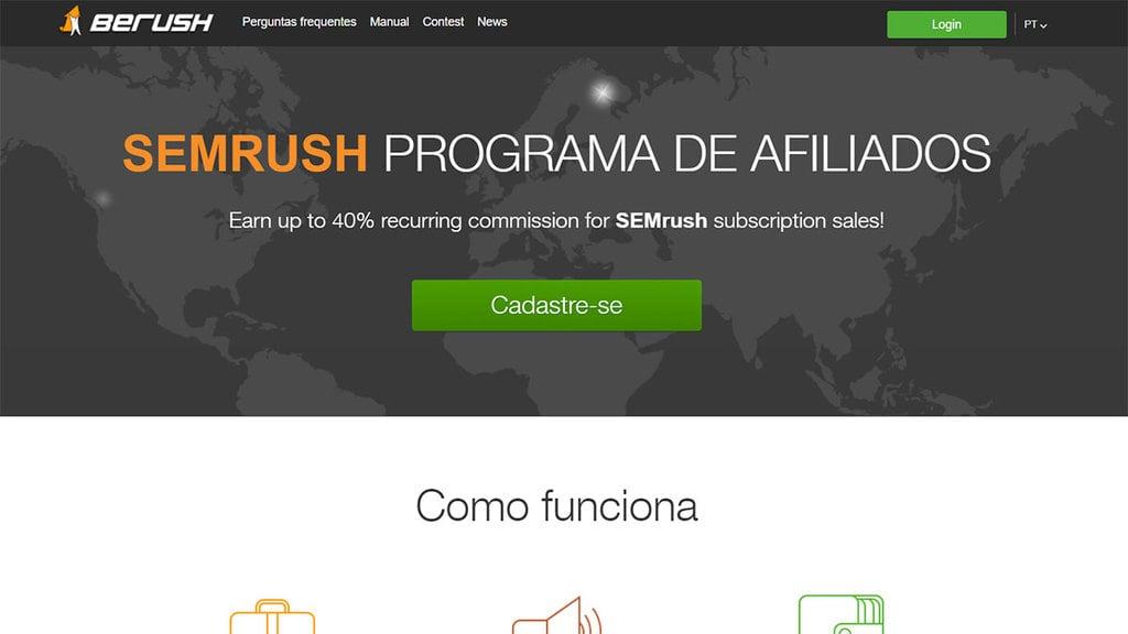 Página inicial do programa de Afiliados SemRush