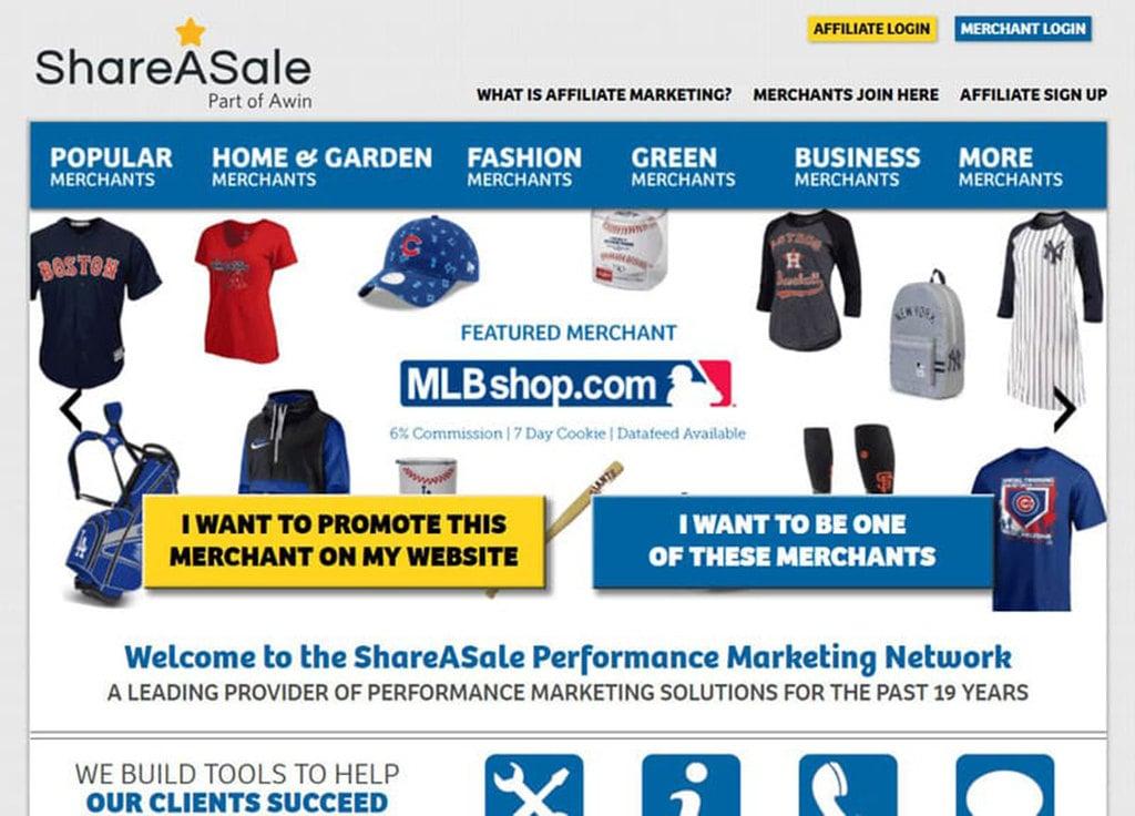 Página inicial do site de Marketing de Afiliados da ShareASale