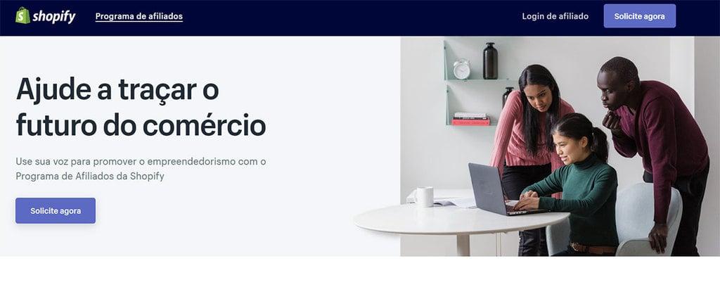 Página inicial do site de Afiliados da Shopify