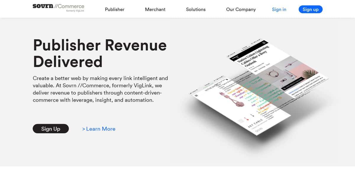 Página inicial do site de Afiliados da Sovrn Commerce