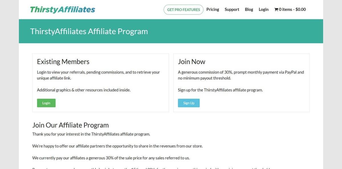Página inicial do site de Afiliados da Thirsty Affiliates