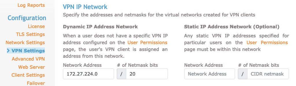 aba de configurações de vpn no openvpn
