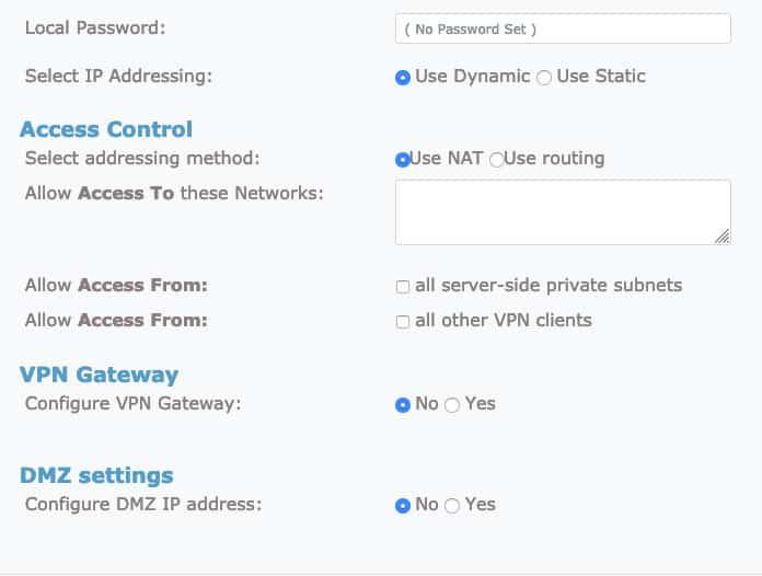 aba de mais configurações no openvpn
